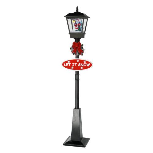 70.75 Lighted Black Musical Santa Vertical Snowing Christmas Street Lamp - IMAGE 1