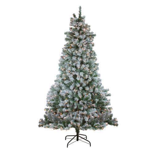 6.5' Pre-Lit Medium Flocked Winema Pine Artificial Christmas Tree - Clear Lights - IMAGE 1