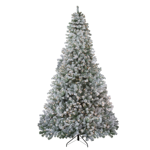 9' Pre-Lit Flocked Winema Pine Artificial Christmas Tree - Clear Lights - IMAGE 1