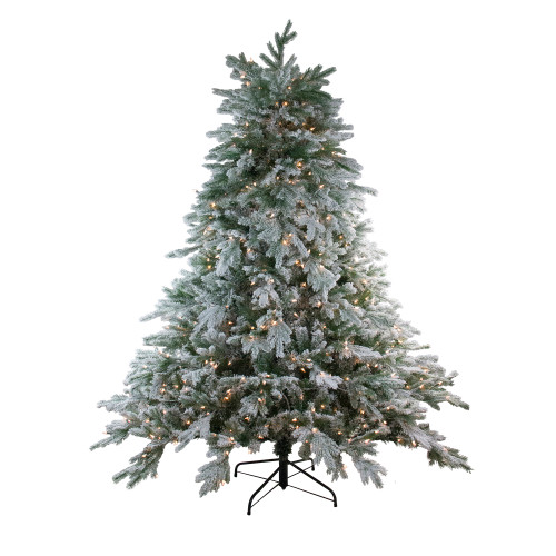 7.5' Pre-Lit Full Frosted Butte Fir Artificial Christmas Tree - Clear Dura-Lit Lights - IMAGE 1