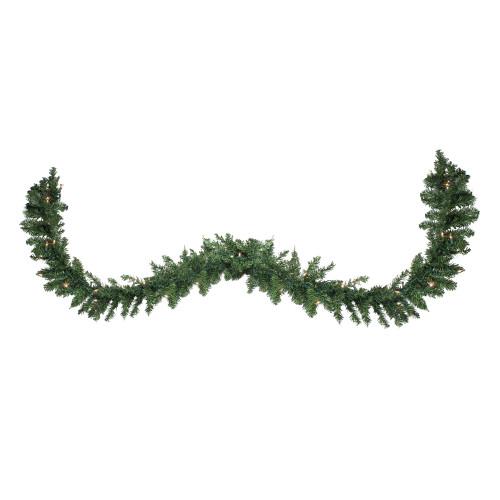"25' x 17"" Pre-Lit Buffalo Fir Commercial Artificial Christmas Garland - Clear Lights - IMAGE 1"