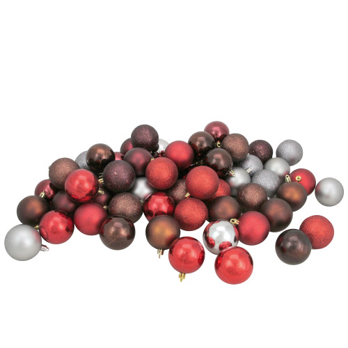 """60ct Red and Silver Shatterproof 4-Finish Christmas Ball Ornaments 2.5"""" (60mm) - IMAGE 1"""