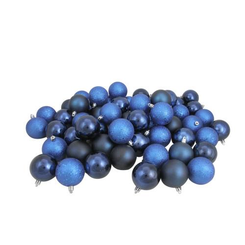 "60ct Blue Shatterproof 4-Finish Christmas Ball Ornaments 2.5"" (60mm) - IMAGE 1"