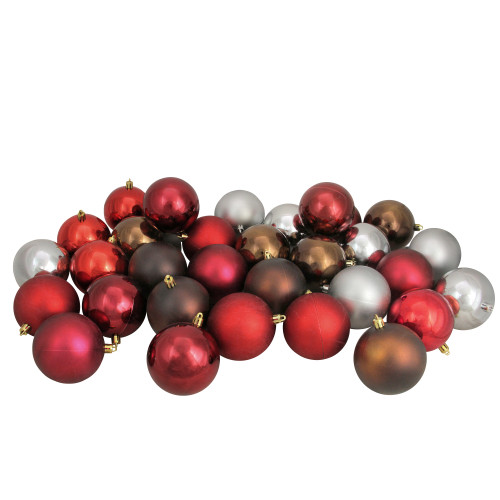 """32ct Multi-Color Shatterproof 2-Finish Christmas Ball Ornaments 3.25"""" (80mm) - IMAGE 1"""