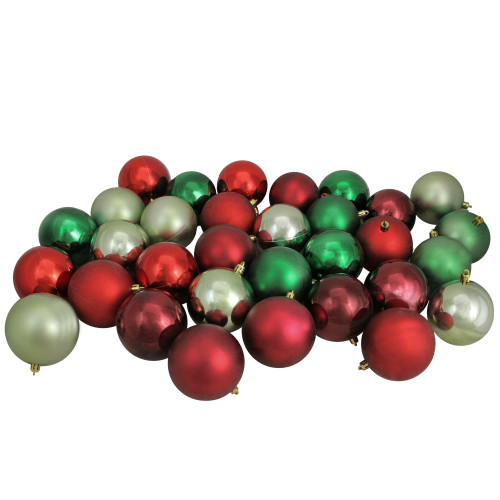 """32ct Red and Green Shatterproof 2-Finish Christmas Ball Ornaments 3.25"""" (80mm) - IMAGE 1"""