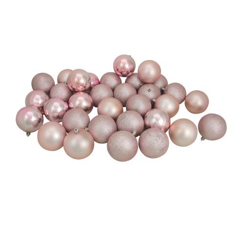 "32ct Blush Pink Shatterproof 4-Finish Christmas Ball Ornaments 3.25"" (80mm) - IMAGE 1"