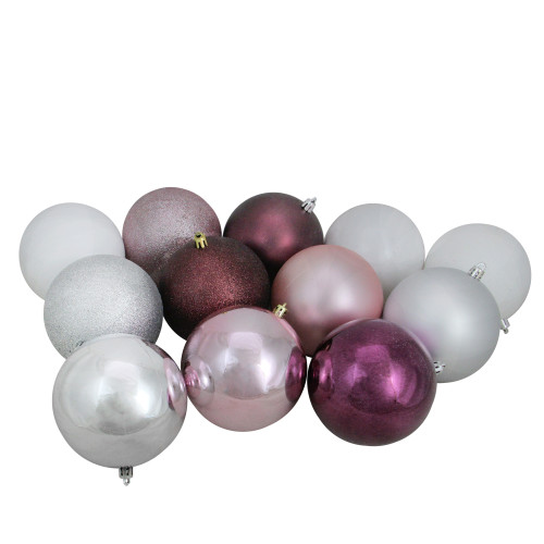"""32ct Pink and Silver Shatterproof 3-Finish Christmas Ball Ornaments 3.25"""" (80mm) - IMAGE 1"""