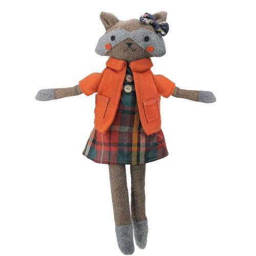 "17"" Brown and Orange Sitting Girl Herringbone Design Fox Plush - IMAGE 1"