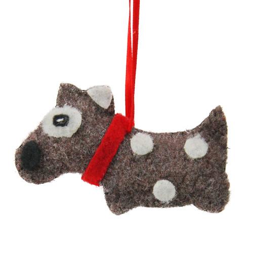 """3.75"""" Brown and White Polka Dot Plush Dog Hanging Christmas Ornament - IMAGE 1"""
