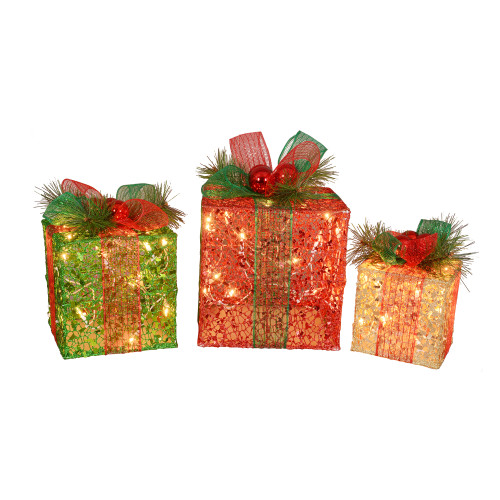 """Set of 3 Pre-Lit Red and Green Glitter Gift Box Outdoor Christmas Yard Decors 10"""" - IMAGE 1"""