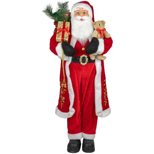 4' Standing Santa Claus Christmas Figure with Teddy Bear and Gift Sack - IMAGE 1