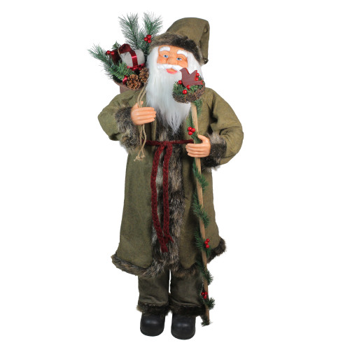 """51"""" Olive Green and Burgundy Red Standing Santa Claus with Gift Bag Christmas Figurine - IMAGE 1"""