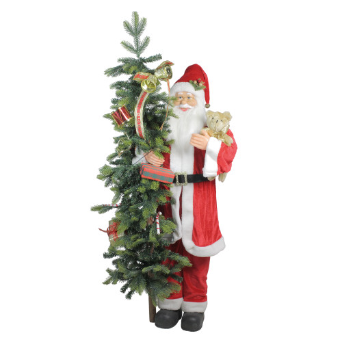 50 Musical Standing Santa Claus Figure with Lighted Christmas Tree and Teddy Bear - IMAGE 1
