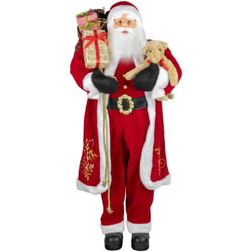 5' Life-Size Standing Santa Claus Christmas Figure with Teddy Bear and Gift Bag - IMAGE 1