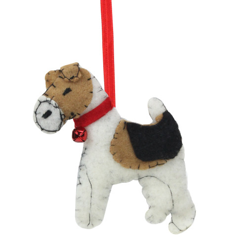 """5"""" White and Brown Dog with Jingle Bell Hanging Christmas Ornament - IMAGE 1"""