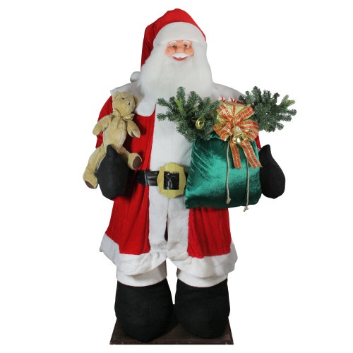 8' Red and White LED Lighted Musical Inflatable Santa Claus Christmas Figurine - IMAGE 1