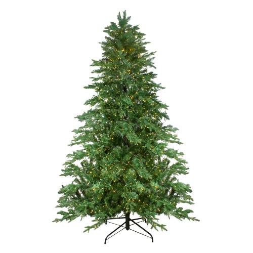7.5' Pre-Lit Medium Mont Blanc Fir Artificial Christmas Tree - Dual Color LED Lights - IMAGE 1