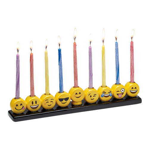 "10.75"" Yellow and Black Emoji Hand Painted Hanukkah Menorah - IMAGE 1"