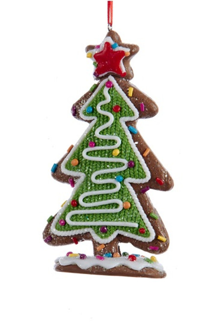 "5"" Green and White Decorative Tree with Multi-Colored Candy and Star Topper Christmas Ornament - IMAGE 1"