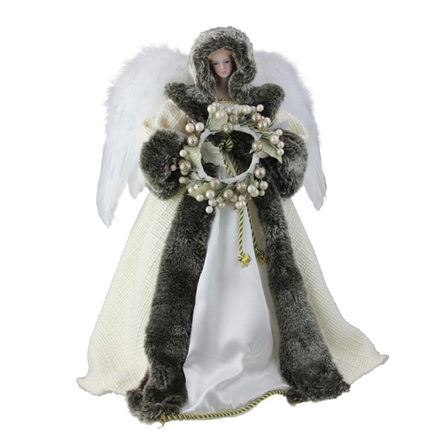 """17.5"""" White and Brown Angel with Wreath Christmas Tree Topper - Unlit - IMAGE 1"""