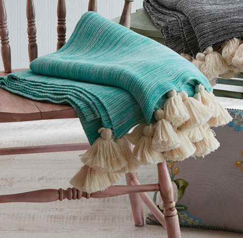 "Turquoise Blue and Off White Cotton Striped Throw Blanket with Tassels 50"" x 60"" - IMAGE 1"