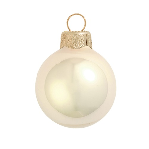 """8ct Champagne Gold Glass Pearl Christmas Ball Ornaments 3.25"""" (80mm) - IMAGE 1"""
