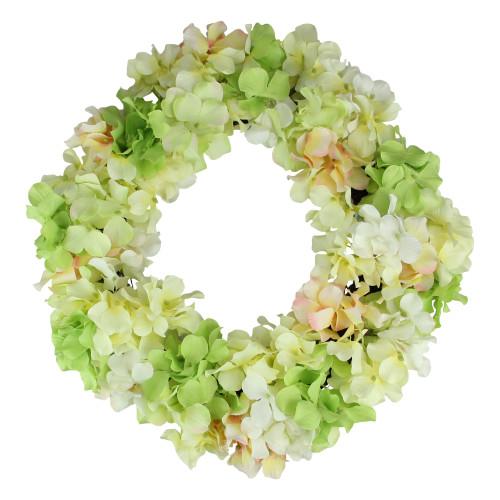 Hydrangea Twig Artificial Floral Wreath, Yellow 15-Inch - IMAGE 1