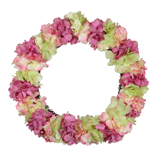 Hydrangea Twig Artificial Floral Wreath, Pink and Green 18-Inch - IMAGE 1