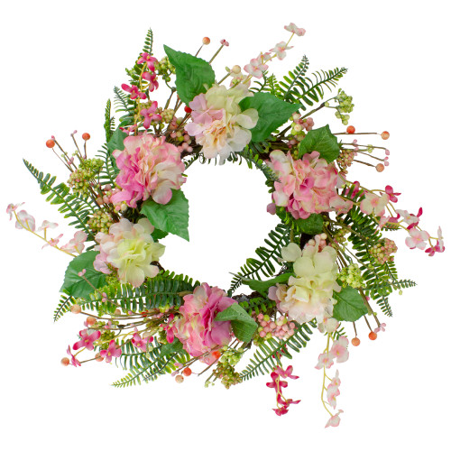 Hydrangea, Berry and Fern Artificial Spring Floral Wreath, Pink - 20-Inch - IMAGE 1