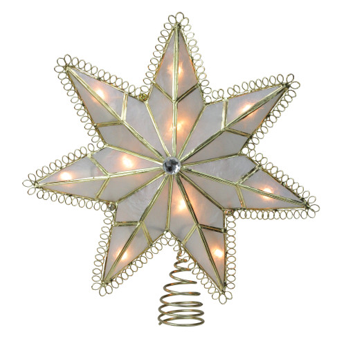 9.25'' Lighted Gold Star Loop Christmas Tree Topper - Clear Lights - IMAGE 1