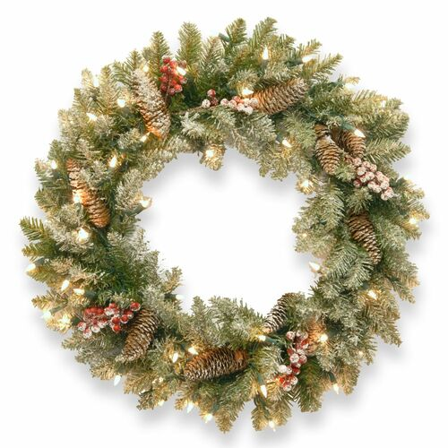 Pre-Lit Dunhill Fir Artificial Christmas Wreath with Red Berries – 30-Inch, Clear Lights - IMAGE 1