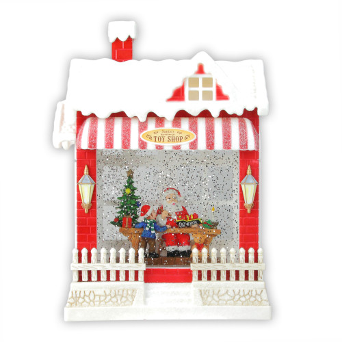 "10"" Red and White LED Glittered Santa's Toy Shop Building Christmas Tabletop Decor - IMAGE 1"