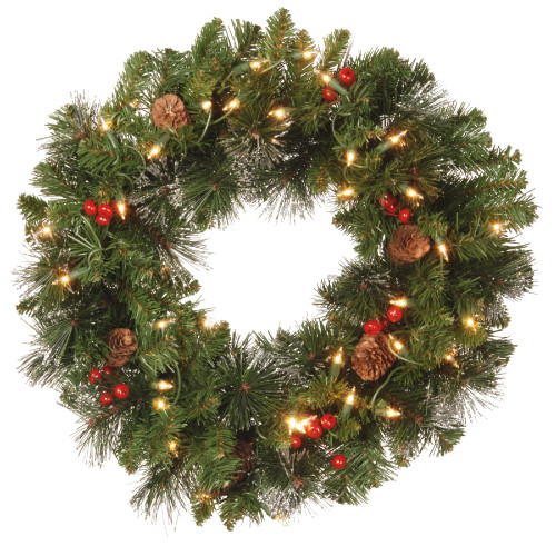 Pre-Lit Decorated Crestwood Spruce Artificial Christmas Wreath - 20-Inch, Clear Lights - IMAGE 1