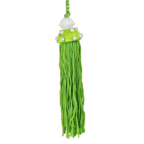 """4.25"""" Green Tassel with Faux Pearls Christmas Ornament - IMAGE 1"""