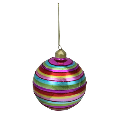 "4"" Multi-Color Round Cirque Stripe Glass Christmas Ornament - IMAGE 1"