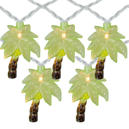 10-Count Green Tropical Palm Tree Outdoor Patio String Light Set, 7.25ft White Wire - IMAGE 1