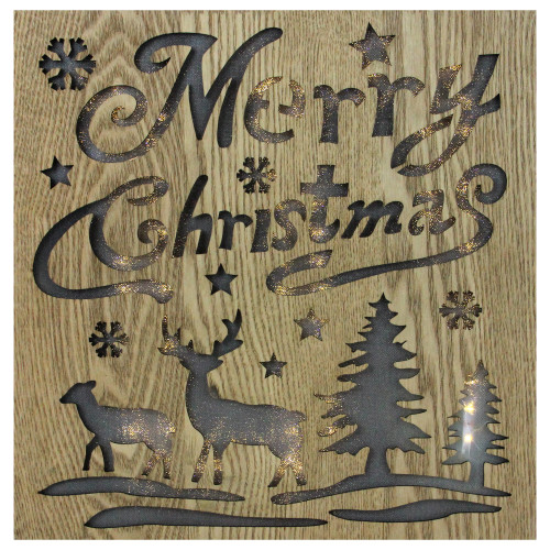 """12"""" Lighted Wooden """"Merry Christmas"""" Christmas Wall Decoration - IMAGE 1"""