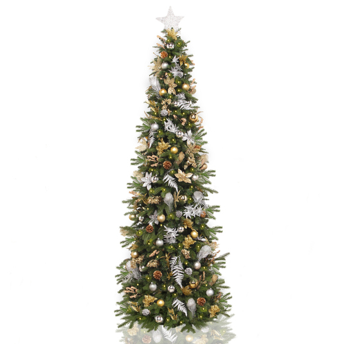 7.5' Pre-Lit Pre-Decorated Gold and Silver Artificial Christmas Tree – Clear LED Lights - IMAGE 1