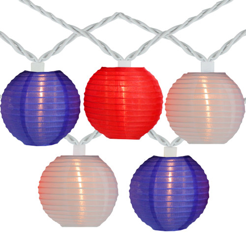 10-Count Red and Blue Round Chinese Lantern String Lights, 7.5ft White Wire - IMAGE 1