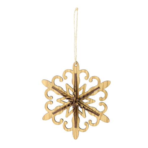 6 Brown White Wooden Snowflake Christmas Ornament Christmas Central