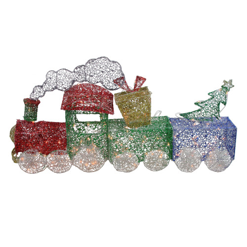 """3pc Red and Green Glittering Lighted Christmas Train with Presents Tree Yard Decor 55"""" - IMAGE 1"""