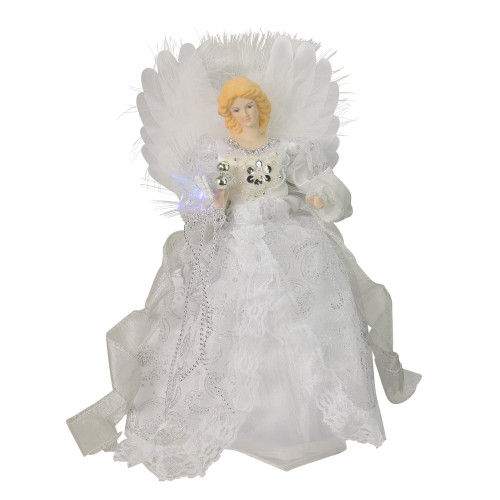 "12"" Elegant White and Silver LED Light Fiber Optic Angel Christmas Tree Topper - IMAGE 1"