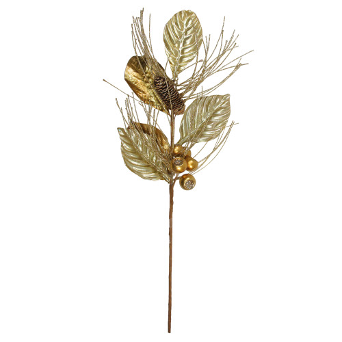 """24"""" Gold Glittered Berries and Pine Cone Artificial Christmas Spray - IMAGE 1"""
