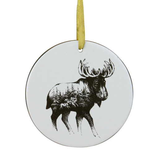 """4"""" Black and White Woodland Moose Christmas Disc Ornament - IMAGE 1"""