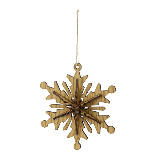 """5.25"""" Brown and Beige Six Point 3D Snowflake Christmas Ornament - IMAGE 1"""