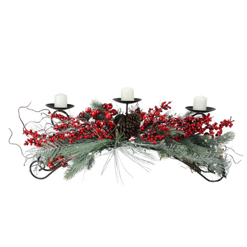 """30"""" Red Frosted Berry and Pine Needle Christmas Candle Holder - IMAGE 1"""