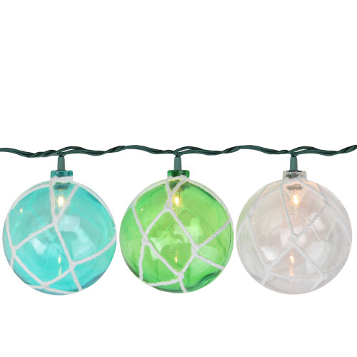 10 Turquoise Blue, Green and Clear Float Mini Summer Patio String Lights - 8.5 ft Green Wire - IMAGE 1