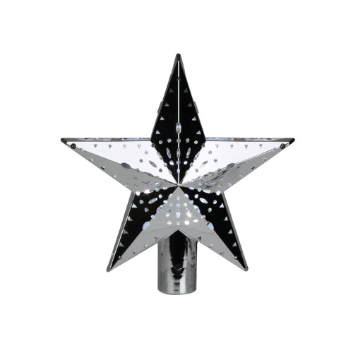 """11.5"""" Lighted Silver Kaleidoscope Star Christmas Tree Topper - Cool White Lights - IMAGE 1"""