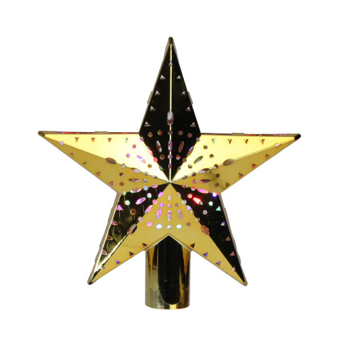 """11.5"""" Lighted Gold Kaleidoscope Christmas Tree Topper - Multicolor LED Lights - IMAGE 1"""