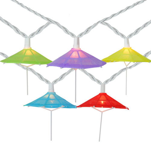 10-Count Vibrantly Colored Umbrella Outdoor Patio String Light Set, 7.25ft White Wire - IMAGE 1